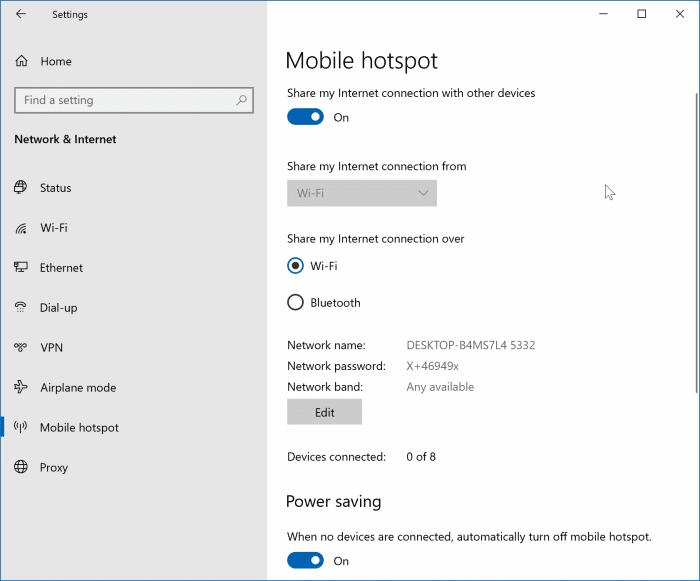 create mobile hotspot in Windows 10 pic01
