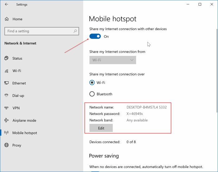 create mobile hotspot in Windows 10 pic1