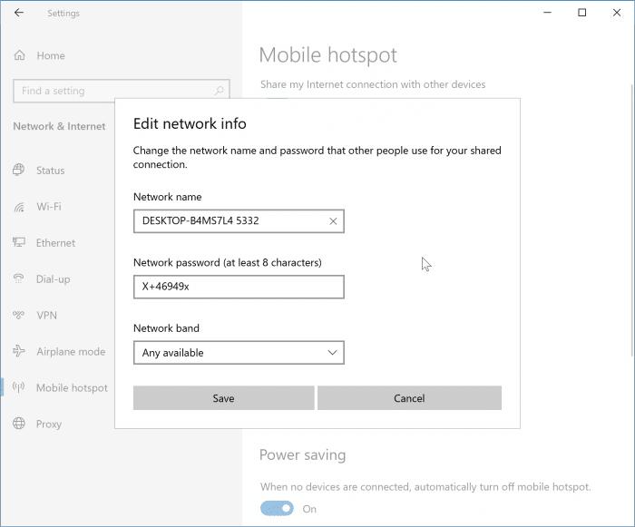 create mobile hotspot in Windows 10 pic3