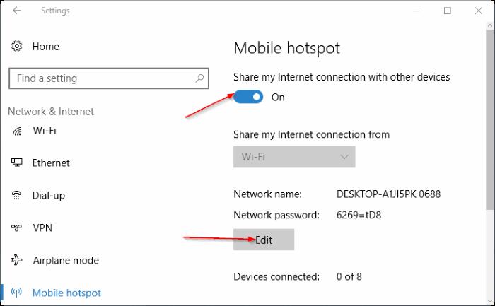 create hotspot windows 8