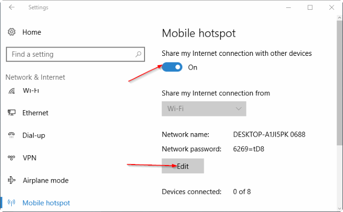 create mobile hotspot in Windows 10 pic5