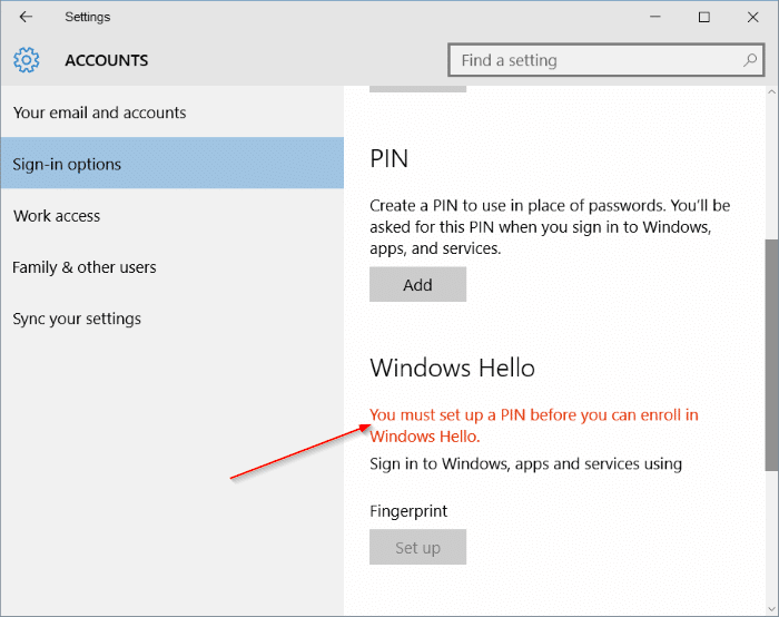 fingerprint setup button greyed out in Windows 10 pic02