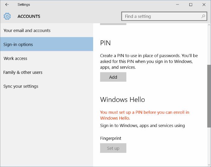 fingerprint setup button greyed out in Windows 10