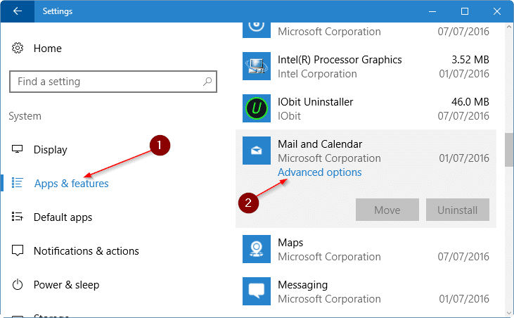 reset mail app in Windows 10 pic3