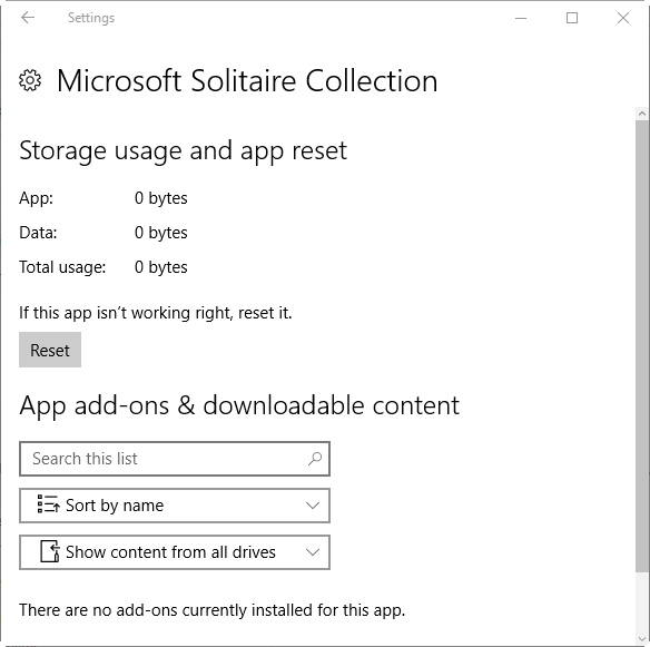 Reset Microsoft Solitaire Collection In Windows 10