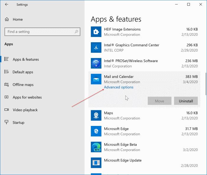 reset windows 10 mail app pic1