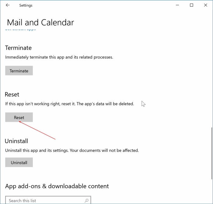 reset windows 10 mail app pic2