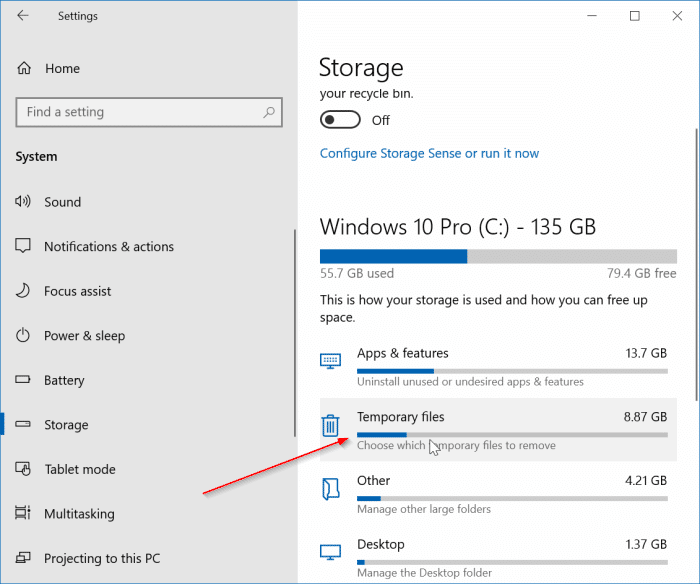 safely delete temporary files in windows 10 pic1
