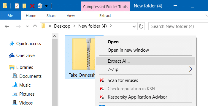 Add take ownership to right click menu Windows 10 pic1