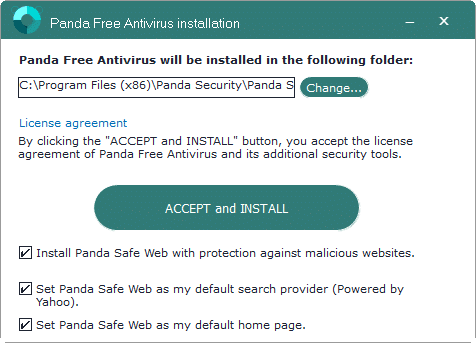 Panda Free antivirus for Windows 10