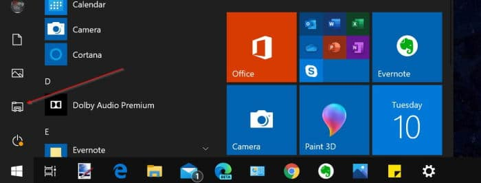 file explorer icon missing from Start menu in Windows 10 pic1