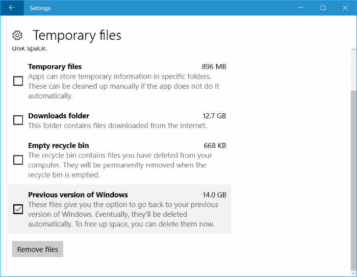free up disk space after Windows 10 anniversary update pic3