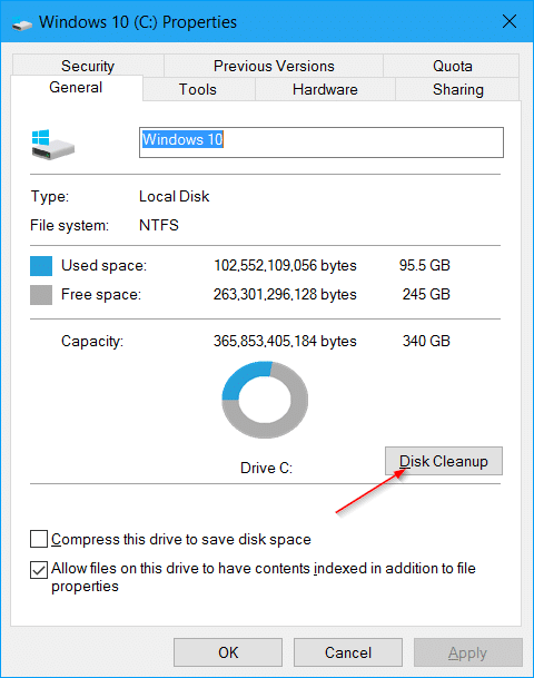 free up disk space after Windows 10 anniversary update pic5