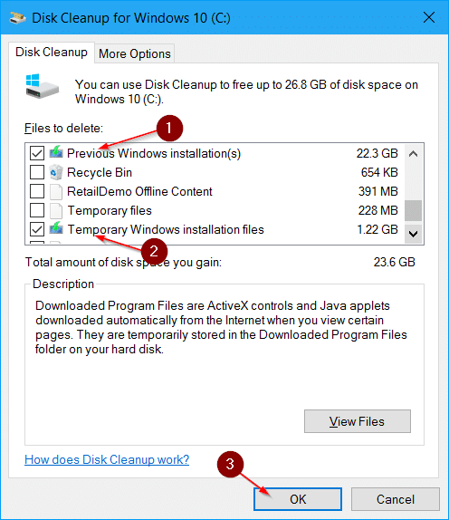 free up disk space after Windows 10 anniversary update pic7