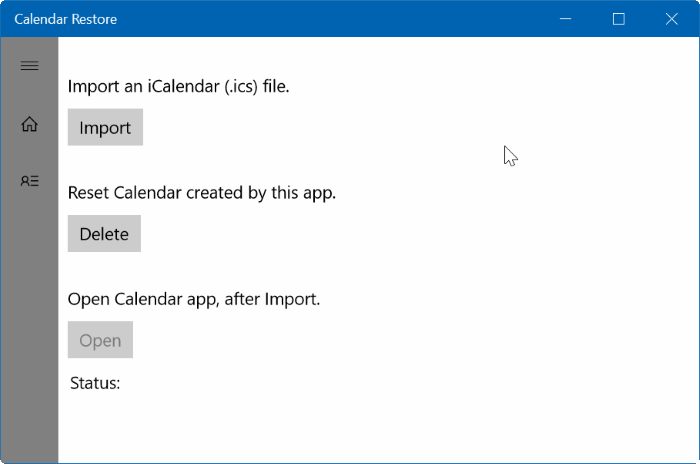 import ICS into Windows 10 Calendar pic1