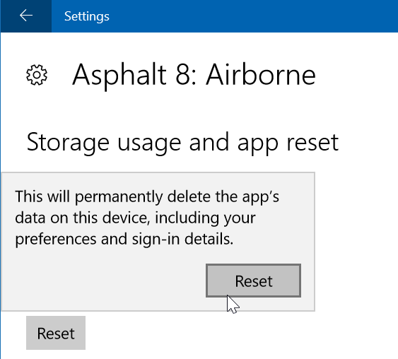 reset asphalt 8 airborne in Windows 10 step6