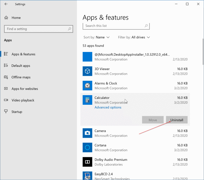 reset or reinstall the calculator app in Windows 10 pic3