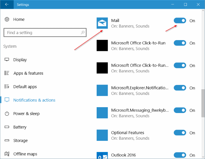 turn on new mail notification banner and sound Windows 10 mail pic2