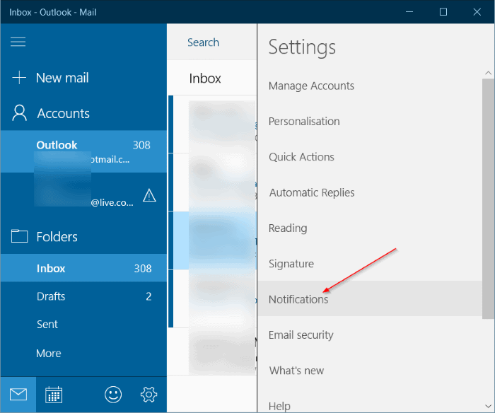 turn on new mail notification banner and sound Windows 10 mail pic4