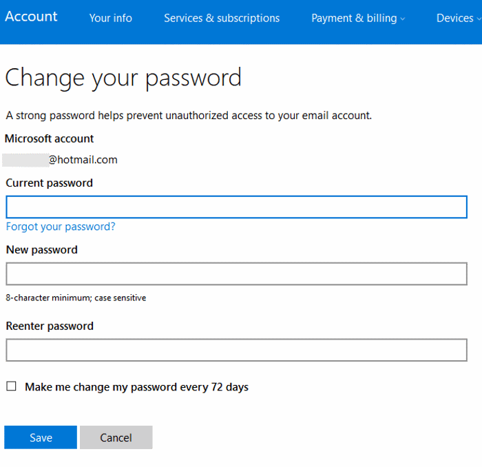 How to change password on email hotmail