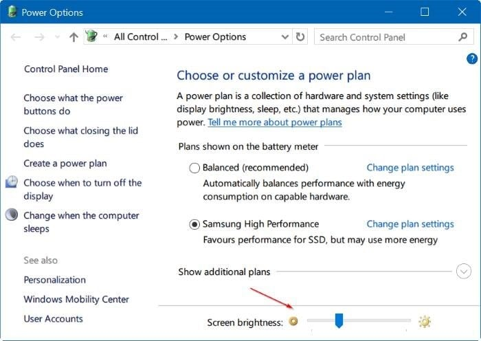 adjust screen brightness in Windows 10 pic4