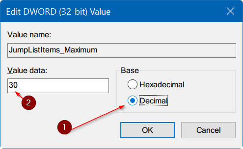change number of items in taskbar jump lists Windows 10 step6
