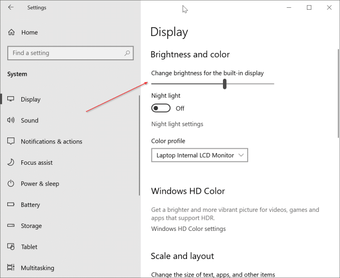 change screen brightness Windows 10