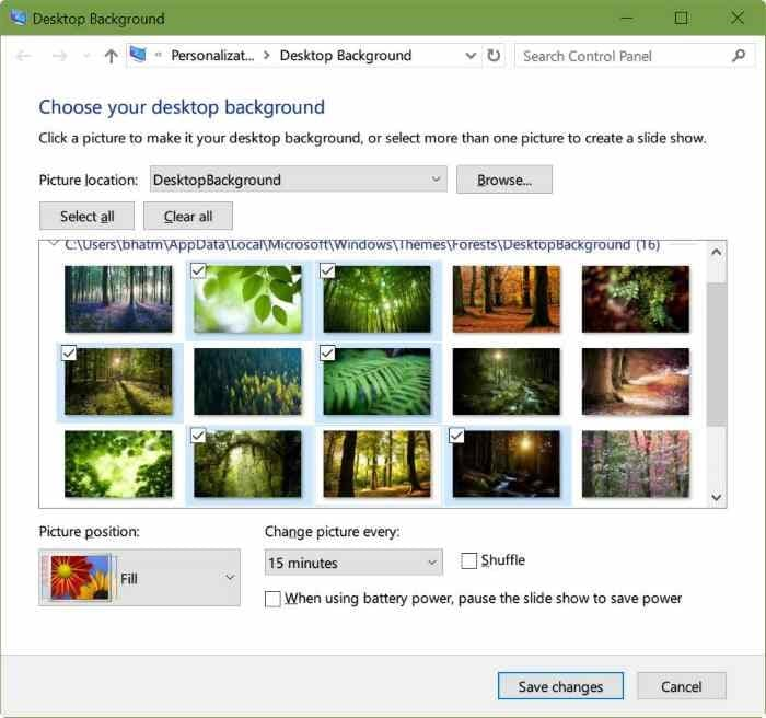 Choose individual wallpapers in a theme in windows 10 for How to choose windows