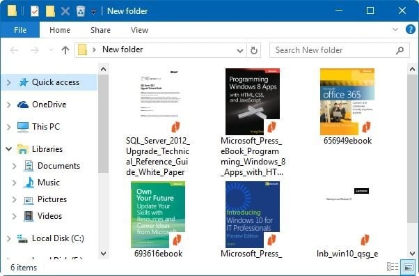 enable thumbnail preview for PDF files in Windows 10 File Explorer pic4