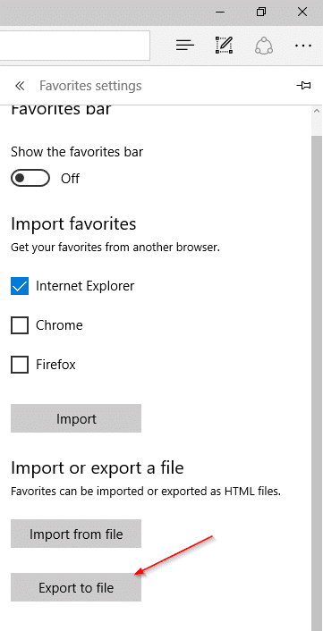 export Edge favorites bookmarks to Chrome and Firefox step3