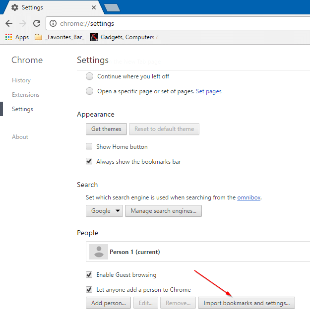 export Edge favorites bookmarks to Chrome and Firefox step8
