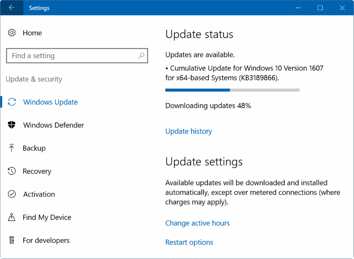 pause Windows Update downloads Windows 10
