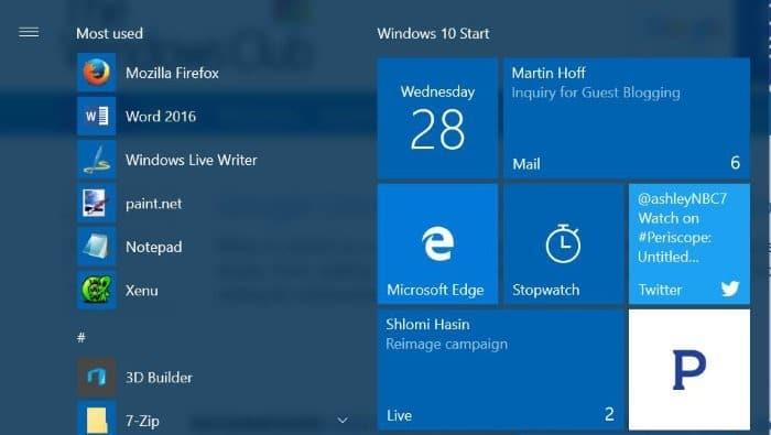 Pin Individual Email Accounts To Start Menu In Windows 10
