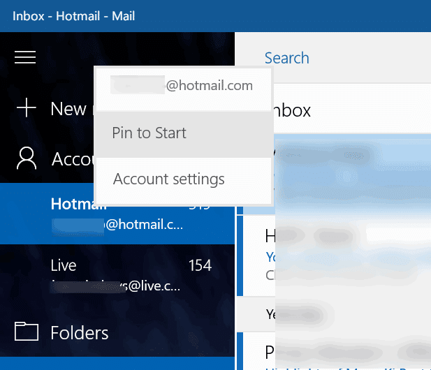 pin individual email account to start menu Windows 10 pic1