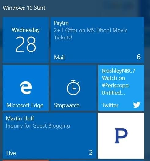 pin individual email account to start menu Windows 10