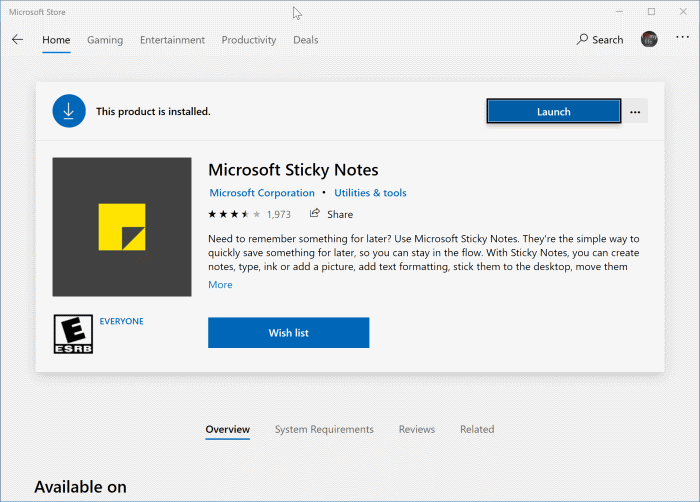 reinstall sticky notes in Windows 10