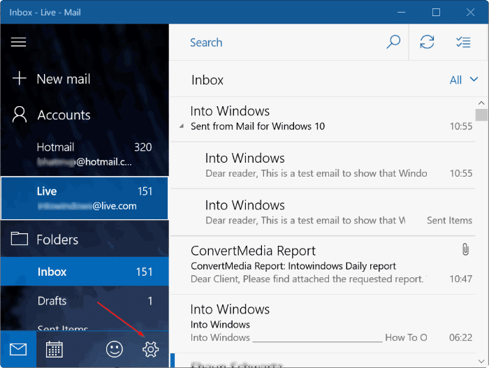 remove sent from mail for Windows 10 message pic3