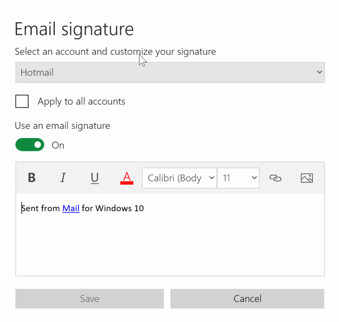 remove signature from Windows 10 mail app