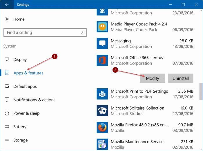 repair Office 365 install on Windows 10 step3.1