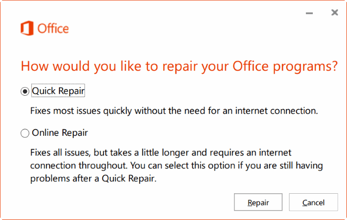 repair Office 365 install on Windows 10 step3