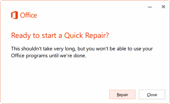 repair Office 365 install on Windows 10 step4