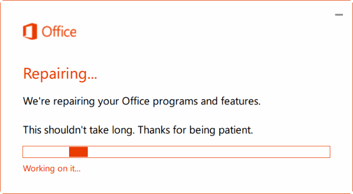 repair Office 365 install on Windows 10 step5