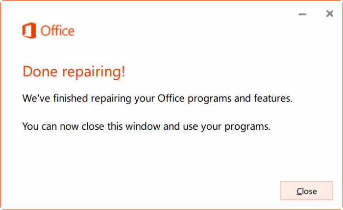 repair Office 365 install on Windows 10 step6