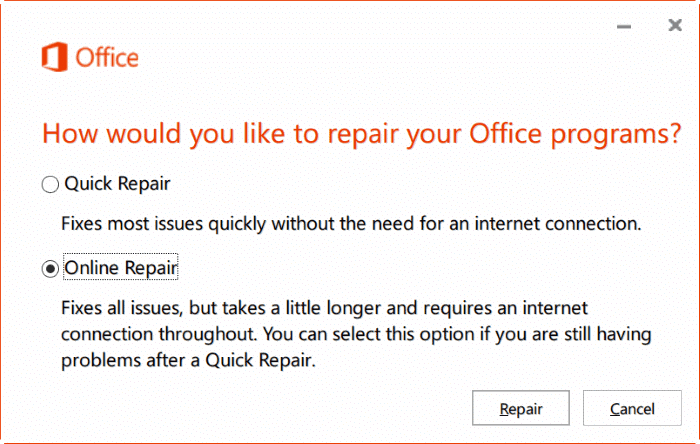 repair Office 365 install on Windows 10 step7