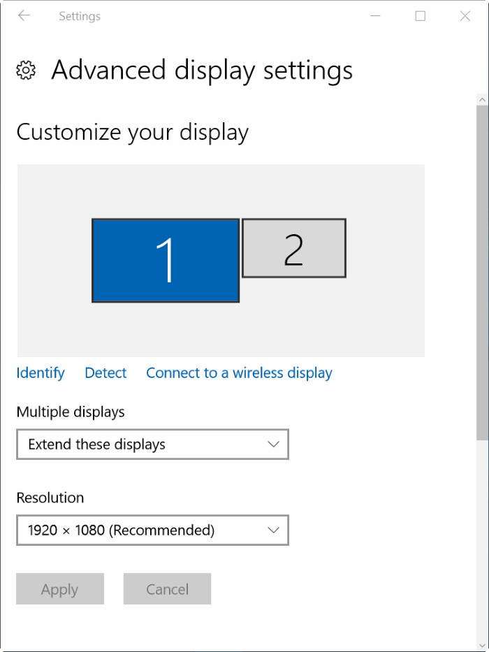 how to change order of monitors windows 10
