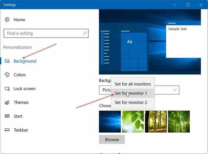 set different wallpapers for multiple monitors in Windows 10 step2