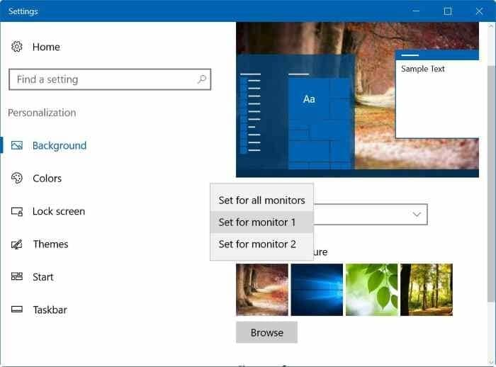 set different wallpapers for multiple monitors in Windows 10 step5