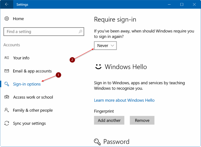 stop Windows 10 from asking for password after sleep step2
