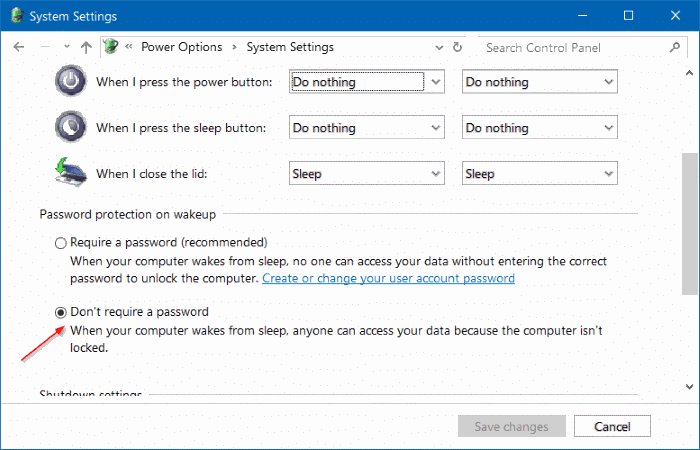 stop Windows 10 from asking for password after sleep step5