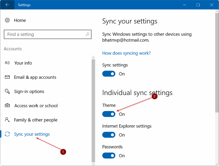 turn off wallpaper theme syncing in Windows 10 step3